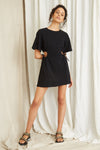 Third Form Pressed Flowers Draw Side Tee Dress - Black