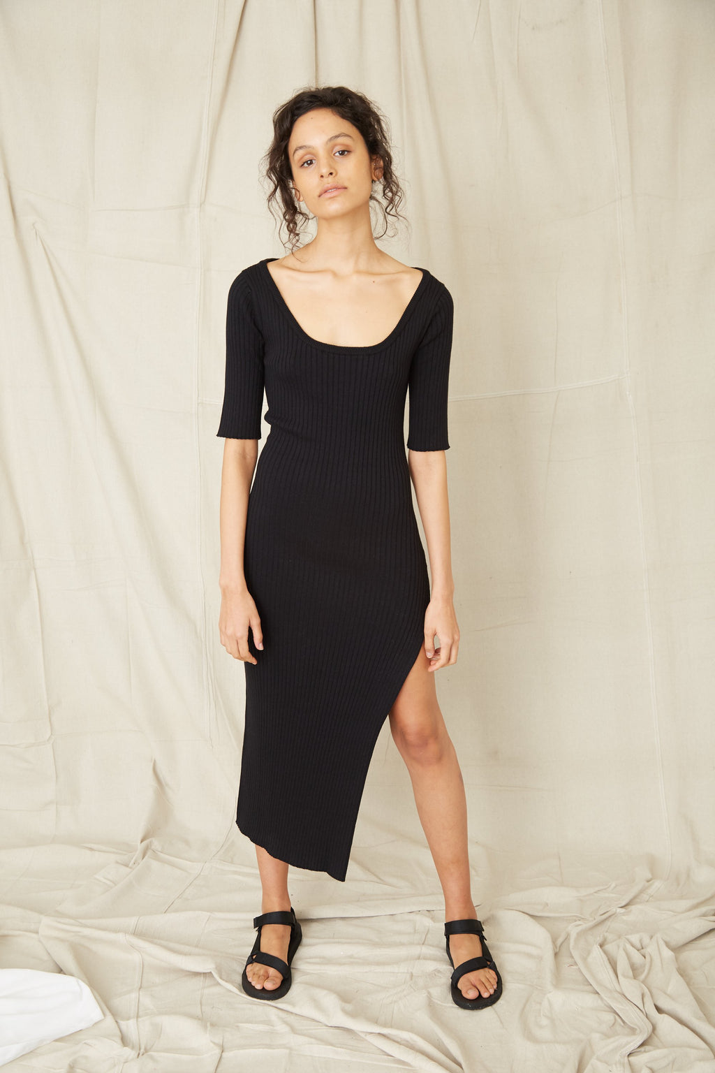 Third Form Dunes Rib Knit Scoop Maxi Dress - Black