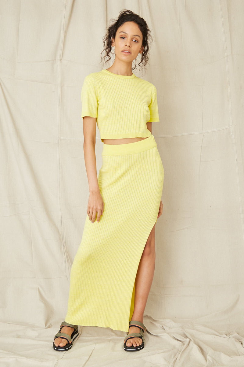 Third Form Dunes Rib Knit Maxi Skirt - Sun
