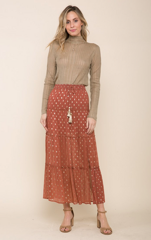 Raga Elle Tiered Slit Skirt-Burnt Orange