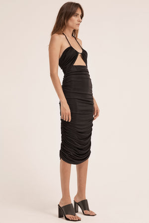 Third Form Lead On Halter Midi Dress - Black