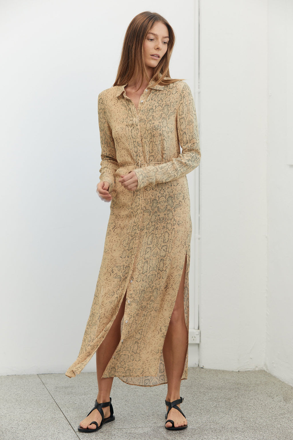Third Form Animal Instincts Maxi Shirt Dress - Snake