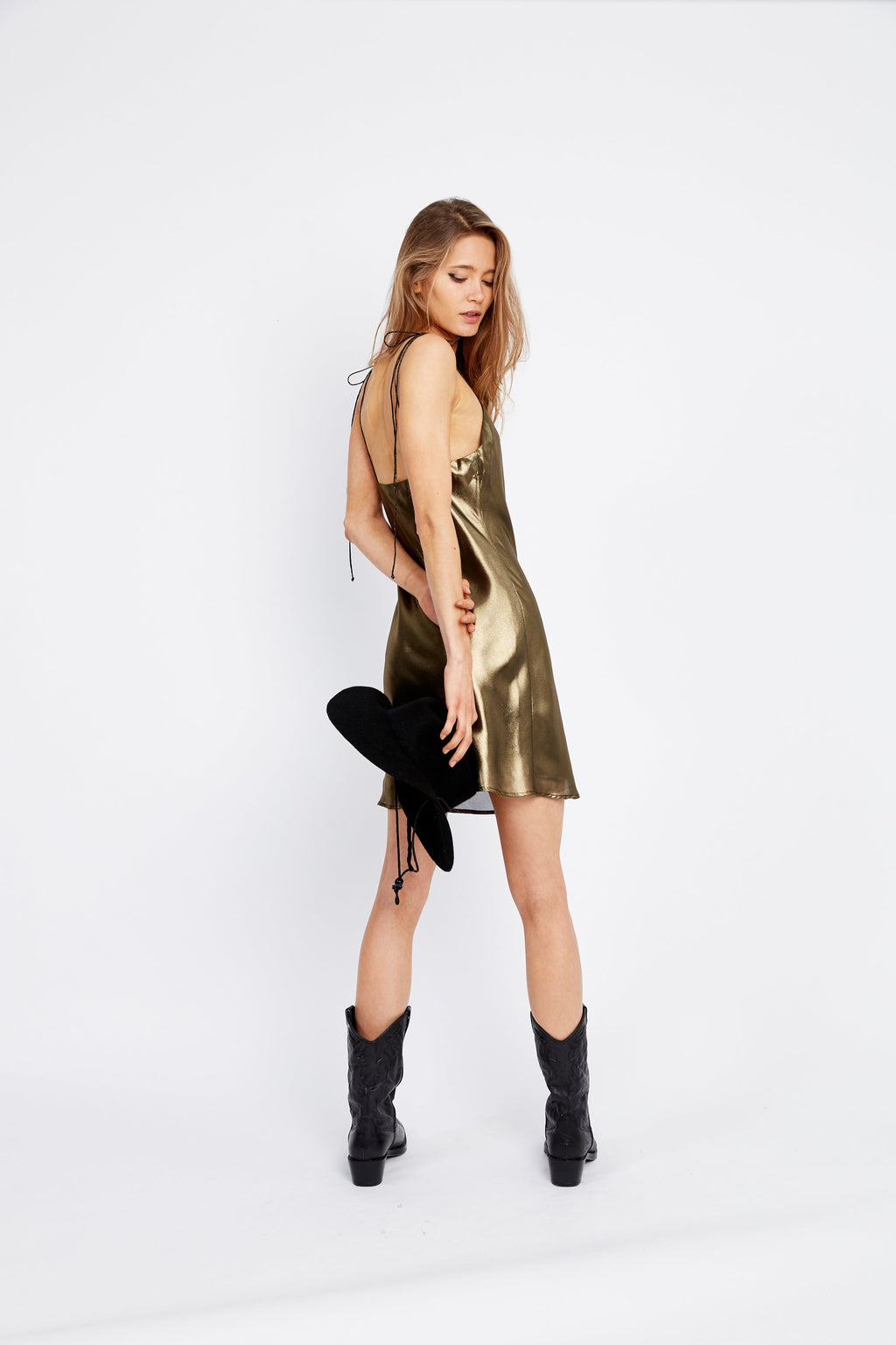 Mirror Mirror Bias Mini Slip Dress - Brass