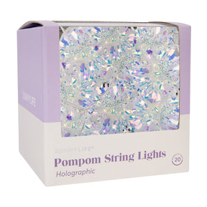 Pom Pom String Lights  - Holographic Glitter