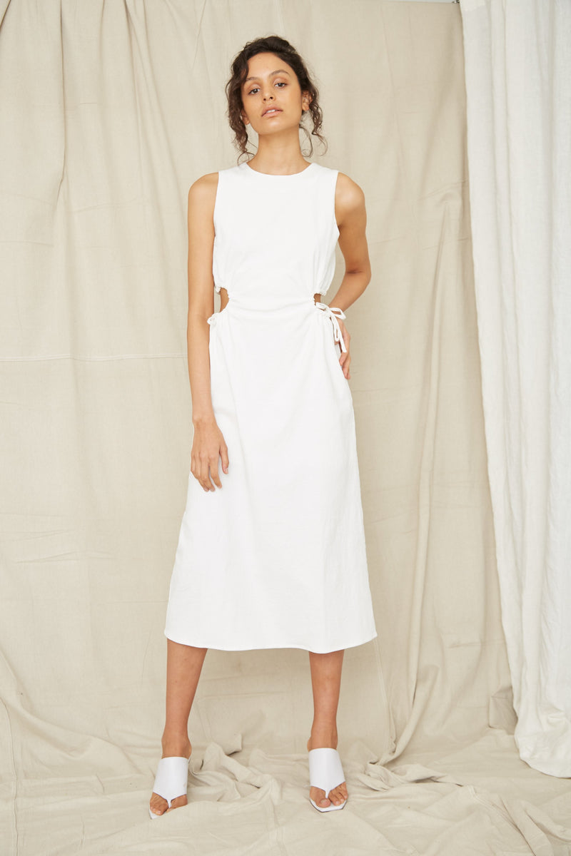 Third Form Pressed Flowers Draw Side Midi Dress - Off White