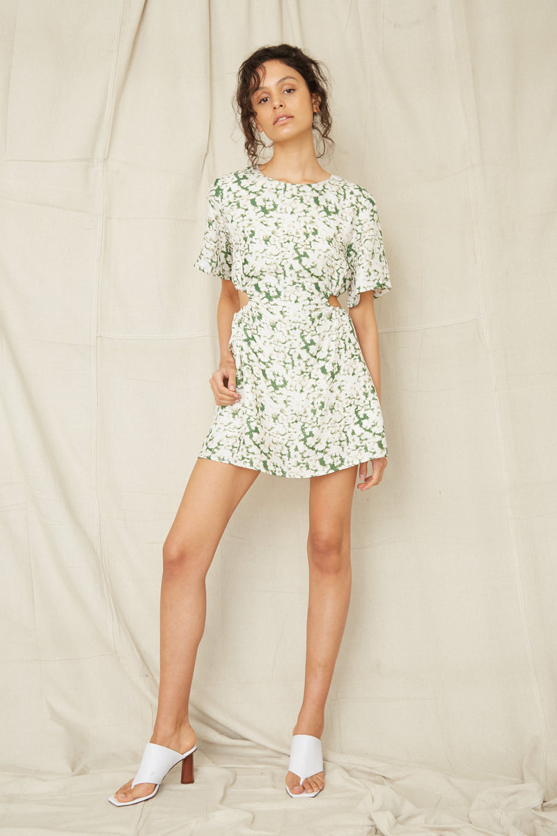Third Form Pressed Flowers Draw Side Tee Dress - Floral