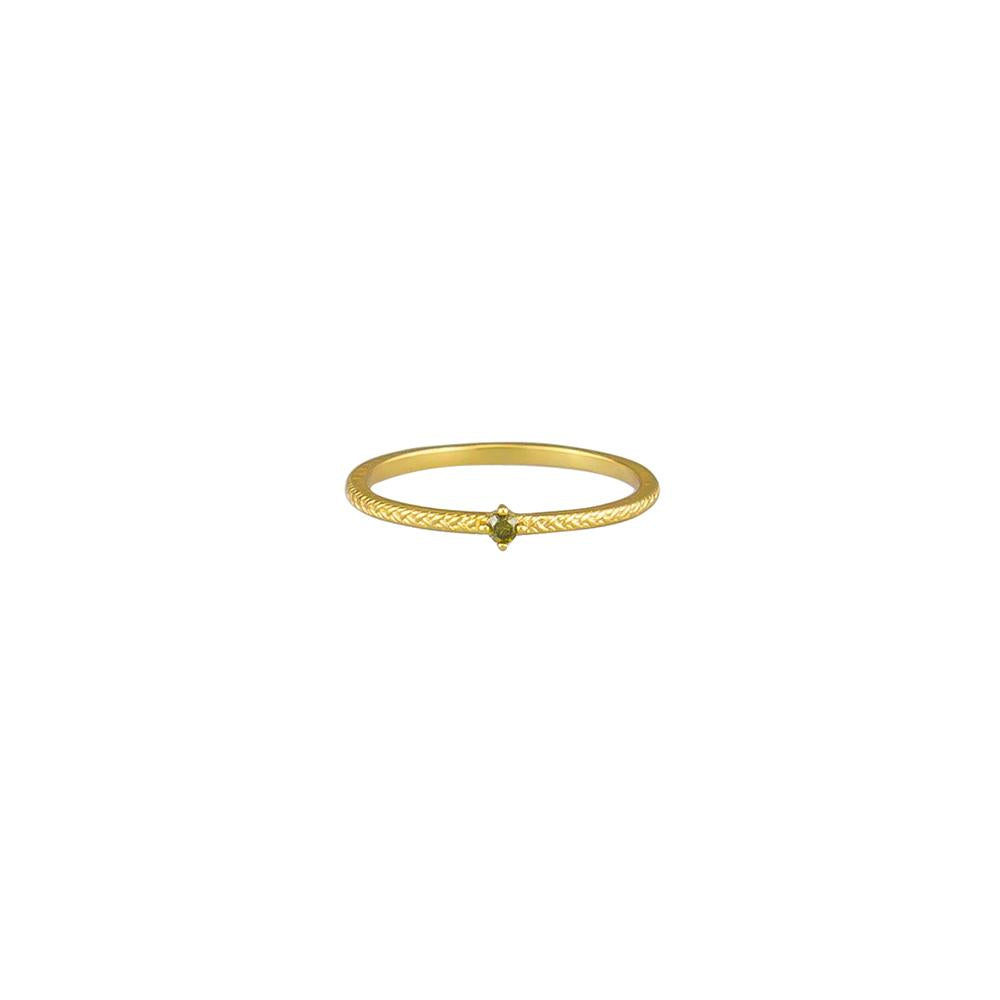 Riley Olive Crystal Ring - Gold
