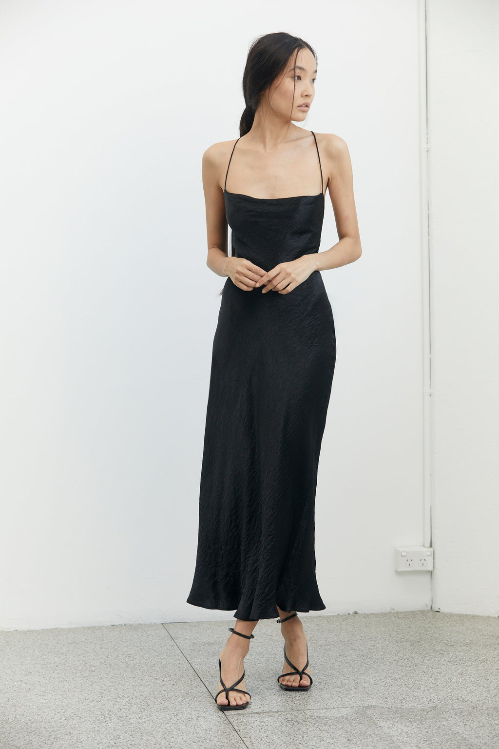 Third Form River Bed Bias Lace Back Slip Dress - Black