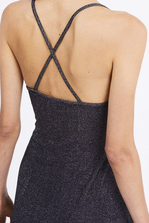 Third Form Shimmy Cross Back Slip Dress - Black Metal