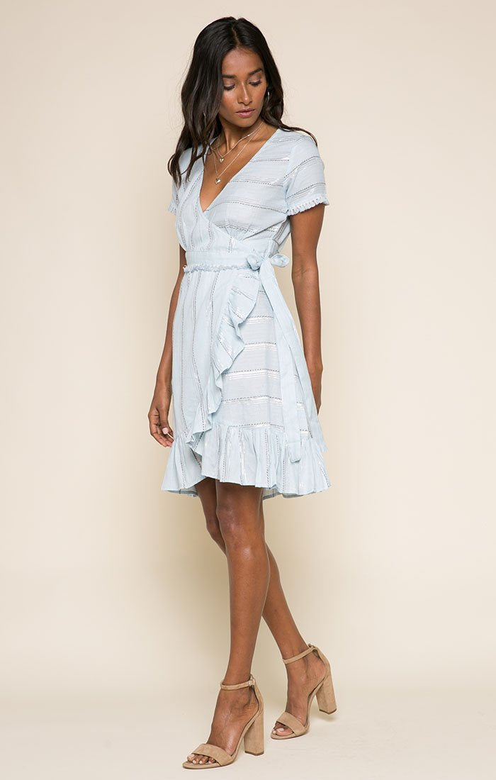 Raga Skyla Short Wrap Dress - Blue Sky