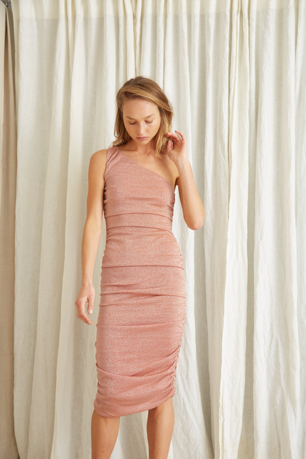 Third Form Star Dust One Shoulder Midi Dress - Blush