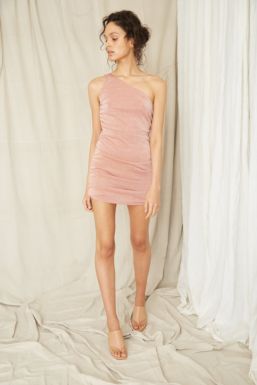 Third Form Star Dust One Shoulder Mini Dress - Blush