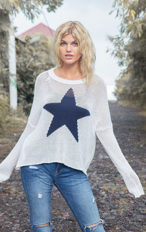 Wooden Ships Star Slouchy Crew Cotton - Snow and Indigo