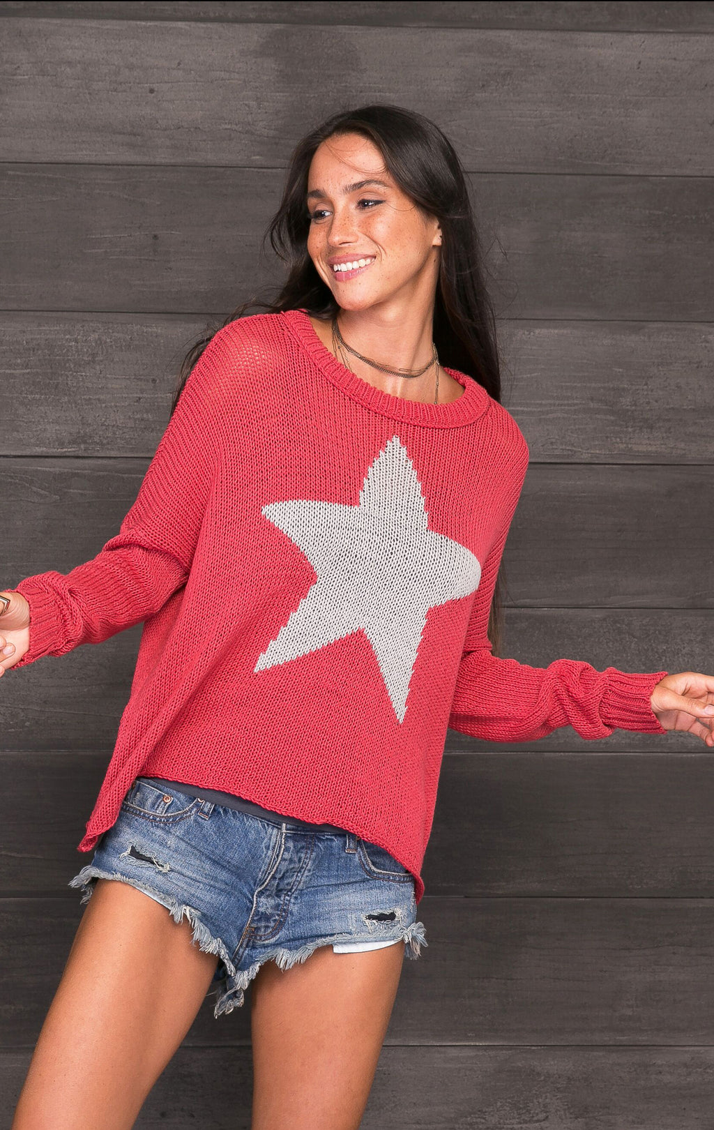 Wooden Ships Star Slouchy Crew Cotton - Red and Nickel