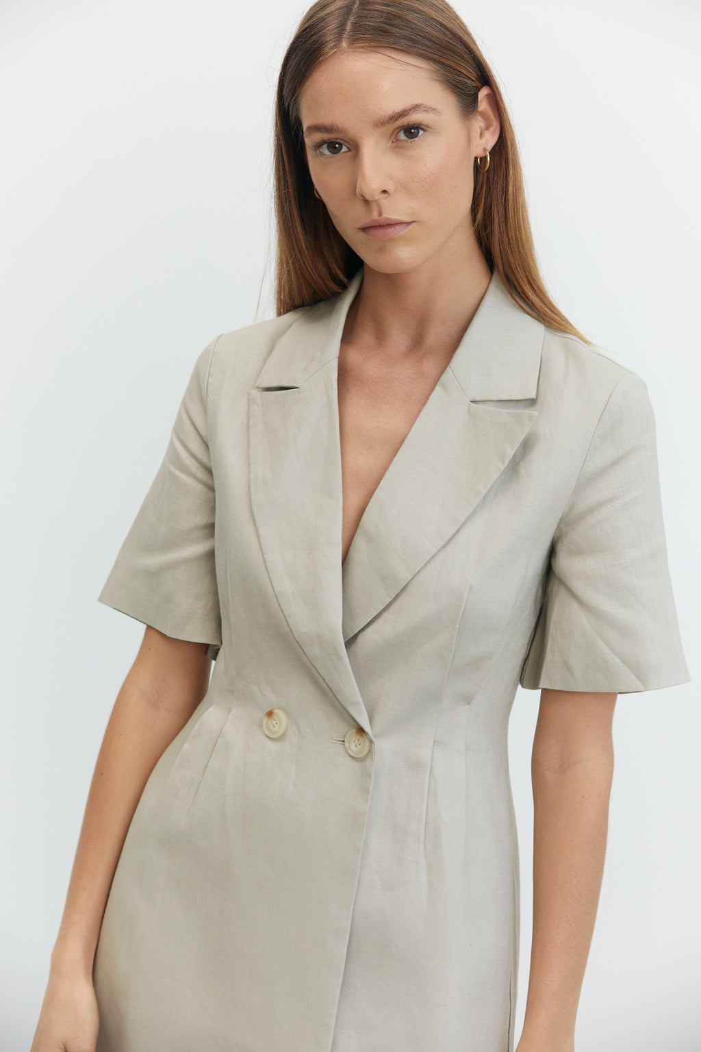 Third Form Tucked In Blazer Dress - Pebble