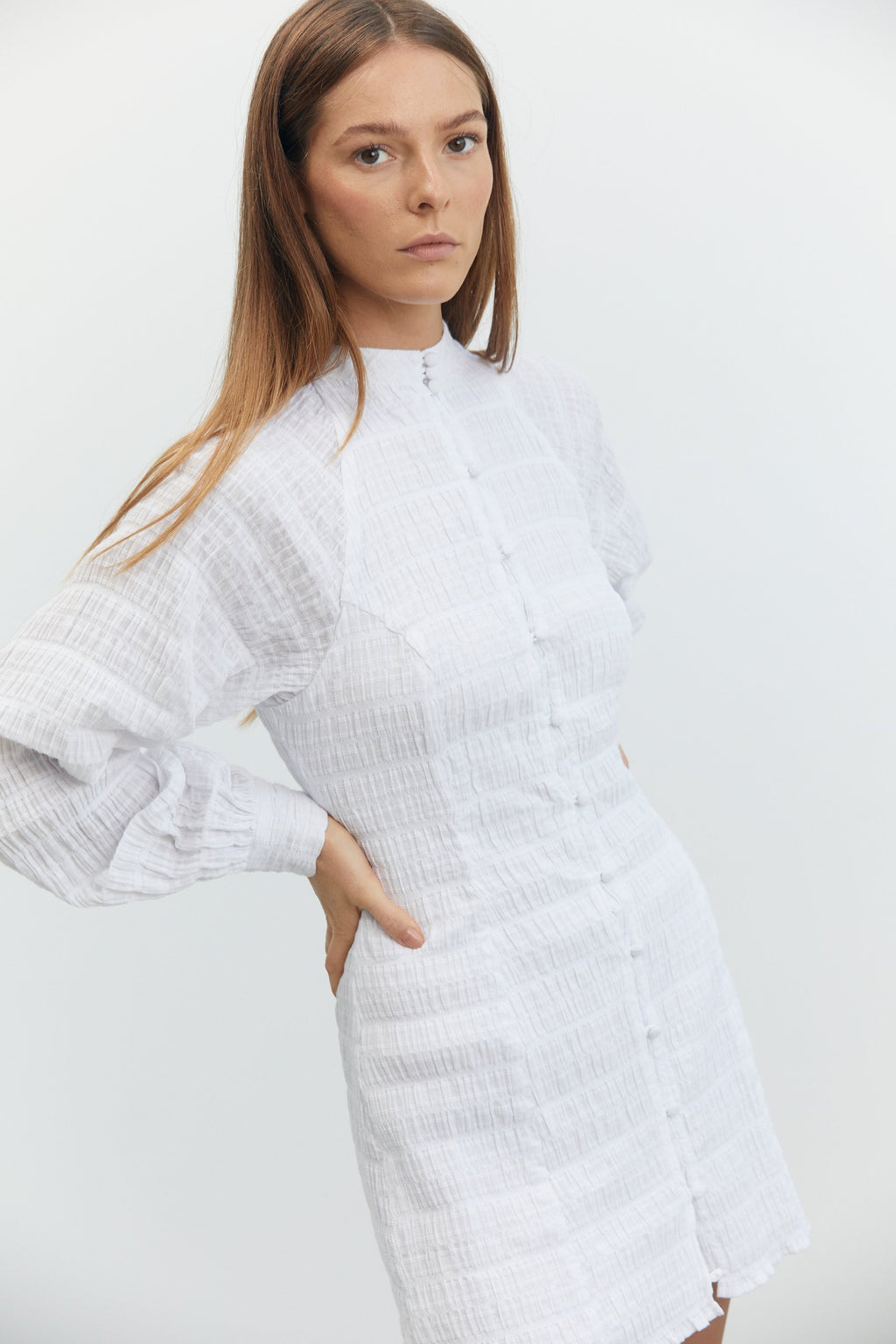 Third Form Whitewash Button Up Dress - White
