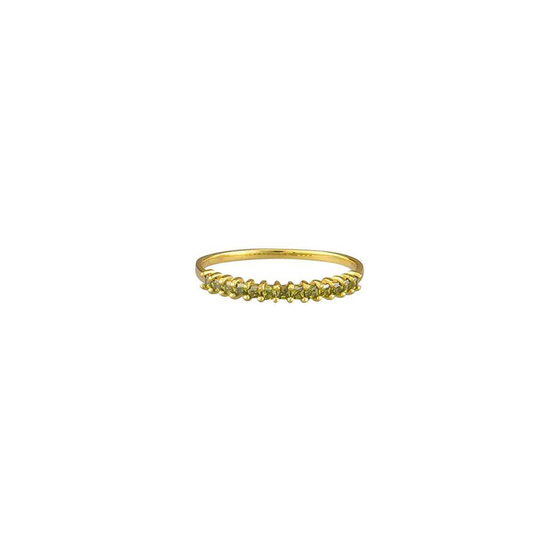 Zoey Olive Crystal Ring - Gold