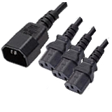 IEC to IEC 3 Way Splitter