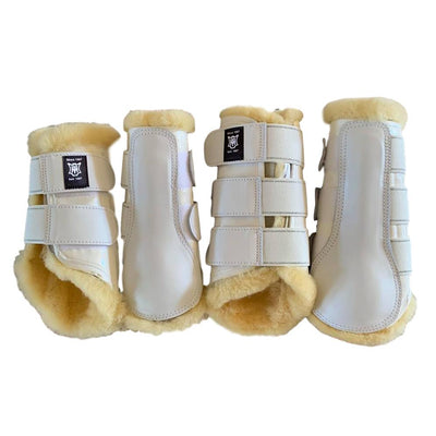 EA Mattes Professional Dressage Boots - L Set White/Natural Instock - Hufglocken