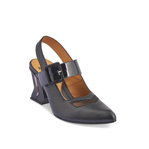 With dynamic lines and geometric elements, Bolt is a modern classic by master designer John Fluevog. The soft leather upper and adjustable patent leather strap are complemented with a nylon mesh front detail and a striking wood/acrylic heel for maximum visual impact. A supremely comfortable fit despite the toe shape, this versatile slingback is an effortless addition to any wardrobe.
