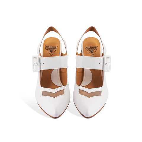 With dynamic lines and geometric elements, Bolt is a modern classic by master designer John Fluevog. The soft leather upper and adjustable leather strap are complemented with a nylon mesh front detail and a striking wood/acrylic heel for maximum visual impact. A supremely comfortable fit despite the sharp toe, this versatile slingback is an effortless addition to any wardrobe.