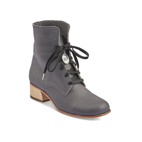 Handmade in Melbourne by Post Sole Studio, this versatile lace up boot features a supple leather upper, easy fit and a shapely hand-carved wooden heel. The top of the boot can be folded down or worn up for full winter warmth.