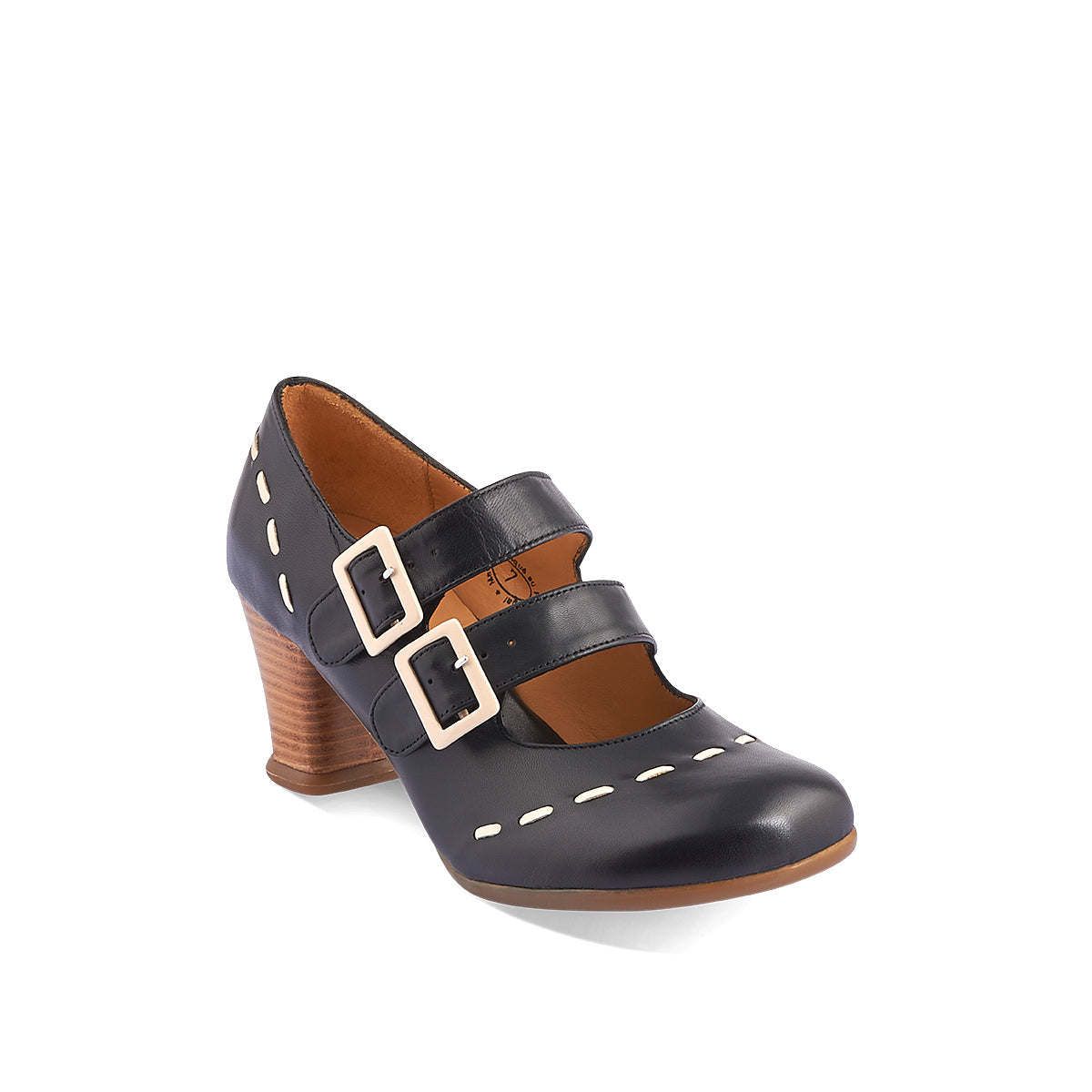 The latest addition to John Fluevog's famed Operettas family, the Cavalieri features twin buckle straps and the accommodating toe shape we all know and love. The contrast stitching adds vintage appeal and the familiar block mid heel provides wonderful balance and stability underfoot.