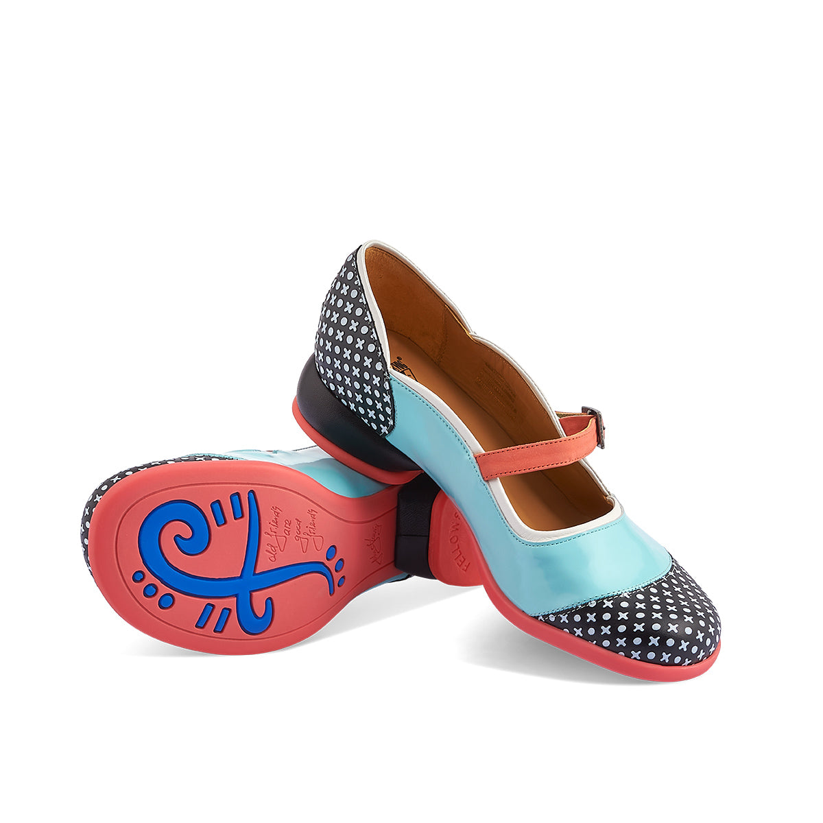 "A fabulous new colourway on a Fluevog favourite, this season's Sandra features a contrast light blue patent and embossed leather upper with a vibrant contrast rubber sole. The low Fellowship heel is as comfortable as a flat and the generous toe shape ensures a wonderful fit on any foot.  ""Old Friends are Good Friends."""