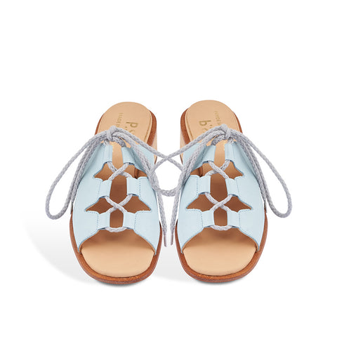 Handmade in Melbourne by Post Sole Studio, this elegant summer sandal features a supple leather upper and veg-tanned leather sole. Subtle lacing through the upper ensures a secure fit on any foot and the shapely hand-carved heel creates a beautiful silhouette.
