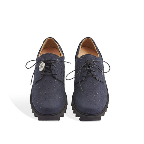 Handmade in Melbourne by Post Sole Studio, the Path Ripple features a deep navy faux-ostrich leather upper and lightweight EVA ripple sole. This contemporary derby has a generous shape and a removable leather insole for a customisable fit.