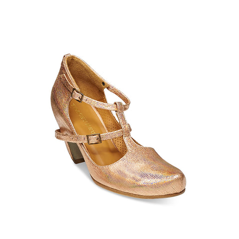 Our new season Penny by Tracey Neuls is an elegant heel with beautiful lines and a shimmering rainbow 'magic' peach tone leather upper. Featuring a single piece of leather pulled over a curved heel that follows the line of the leg, the graceful design is completed with fine leather straps that wrap around the foot and across the heel.