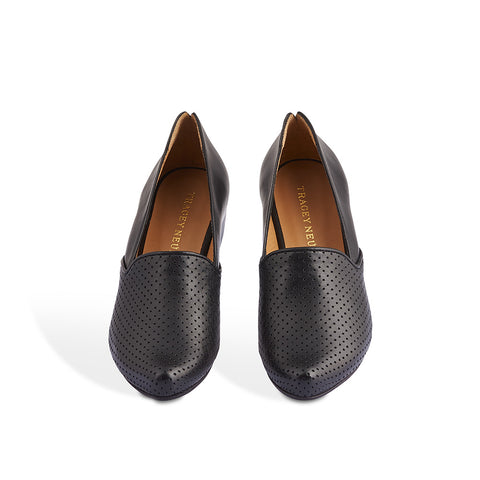 A refined and elegant loafer with beautiful lines, Ray is a stylish slip-on with a perfect-height mid heel and slim leather sole. The fine perforations in both the leather upper and lining create a sublime feel on the foot and the signature toe shape is both accommodating and pleasing to the eye.