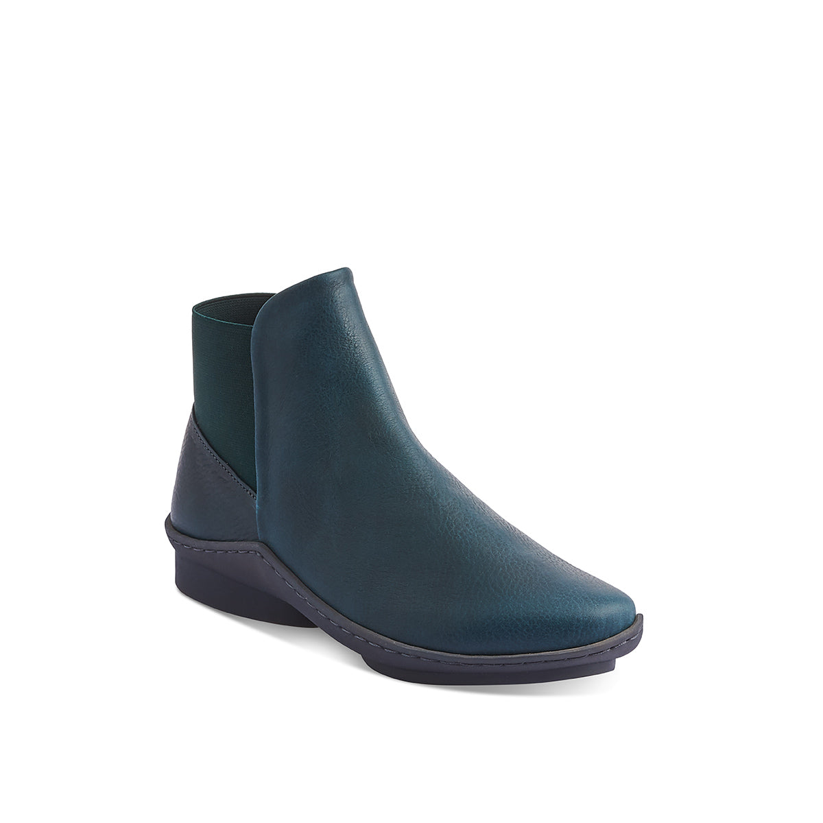 This sporty yet refined ankle boot from Trippen features an elastic section that wraps around the heel for a snug, very comfy fit. The soft leather lining and deep petrol green upper combine for winter readiness and the textured rubber 'wave' sole is complemented internally by a contoured leather footbed providing arch support.