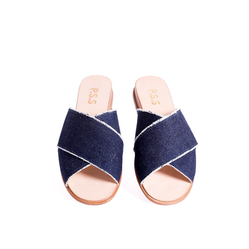 With a chic leather-lined denim upper, this easy-fit sandal is a versatile option for summer. Set on a veg-tanned leather sole, the low 2cm wedge provides lift without sacrificing comfort.