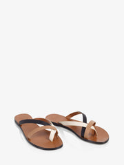 ATP Atelier Anise Black/Ice White/Almond Vacchetta Leather Sandal