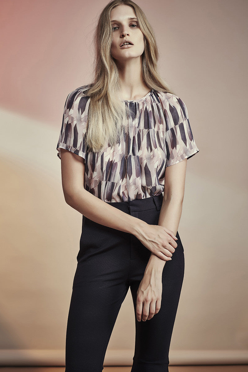 NZ Fashion Clothing Boutique gregorythelabel SS16/17 Exclusive Feather Print Gathered Top