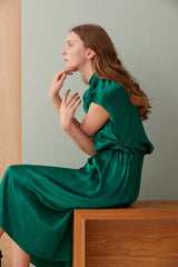 NZ Fashion Clothing Boutique gregorythelabel Gregory AW19 Emerald Dress Satin Made in NZ