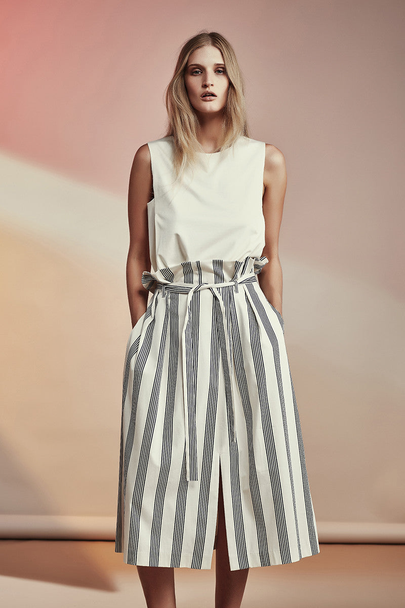 Cabrillo Skirt NZ Fashion gregorythelabel SS16/17 Classic Railroad Stripe Paperbag Waist Skirt Tie Belt Ethical Fashion Made in New Zealand