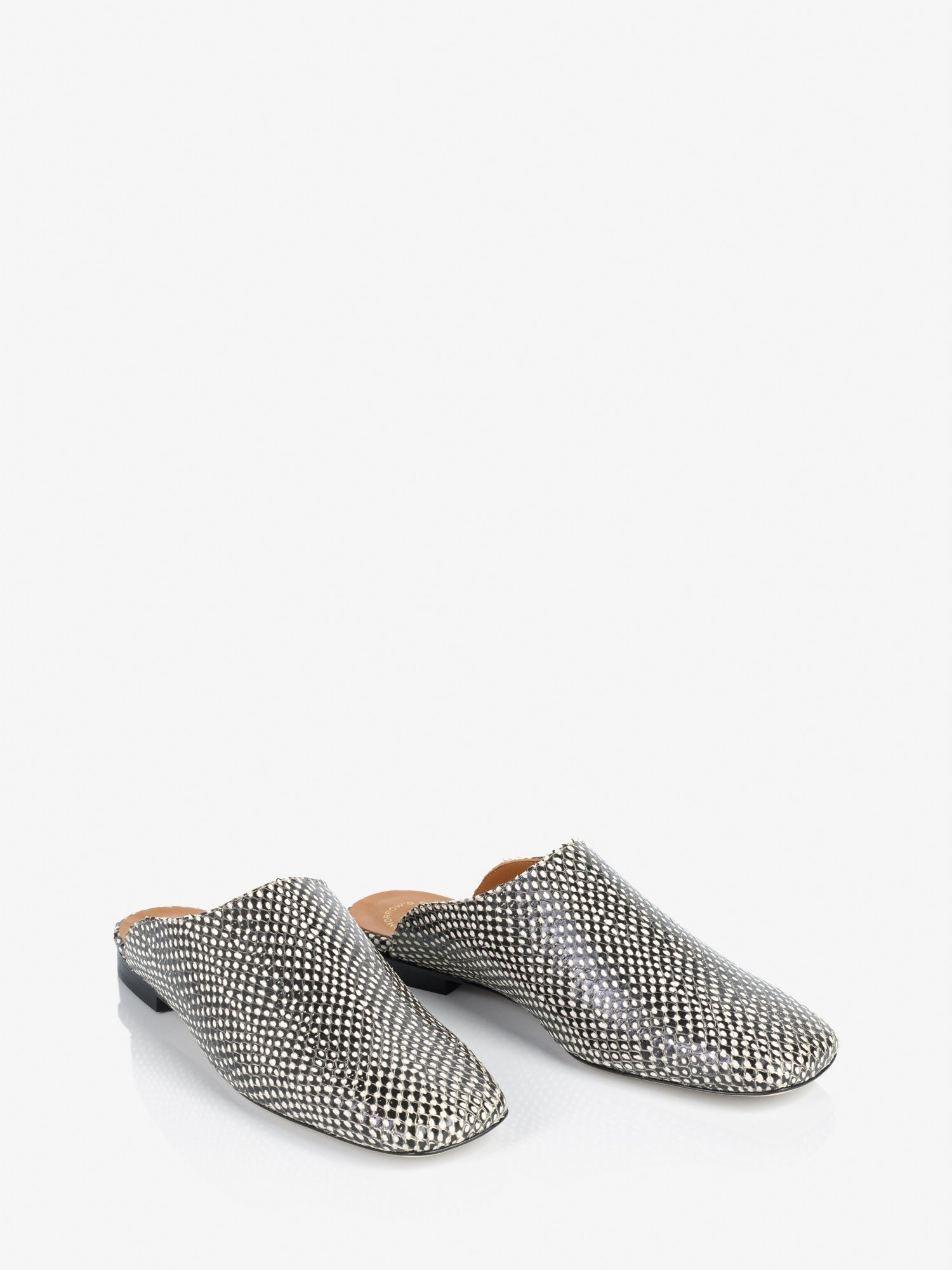ATP Atelier Cade Black and White Dot Printed Snake Shoes