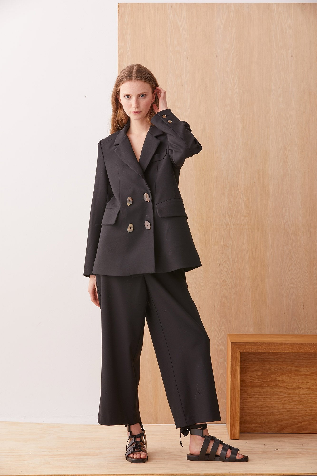 NZ Fashion Clothing Boutique gregorythelabel Gregory AW19 Carlo Pant Black Wool Twill Made in NZ