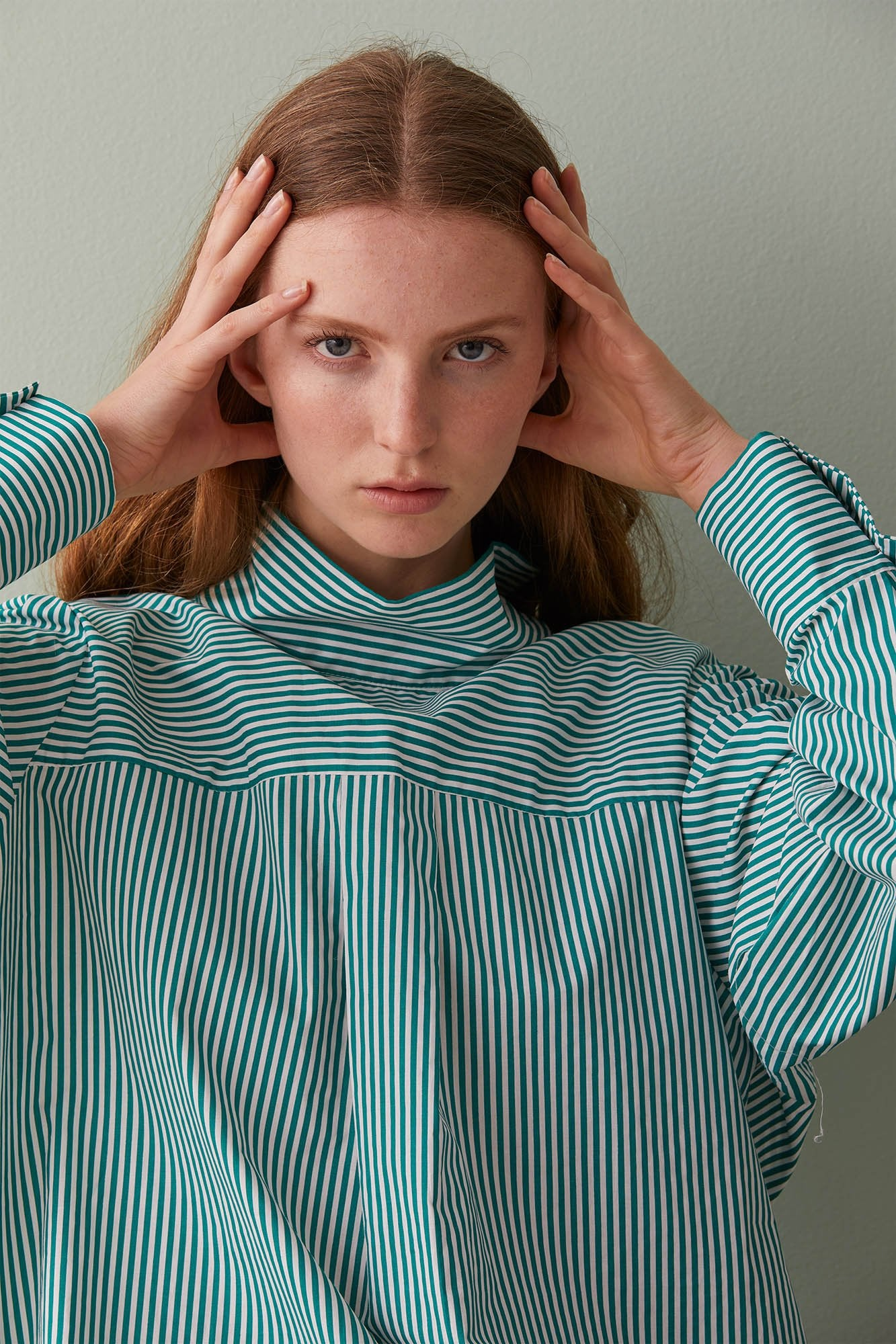 NZ Fashion Clothing Boutique gregorythelabel Gregory AW19 Dasha Top Jungle/Ivory Stripe Shirt Made in NZ