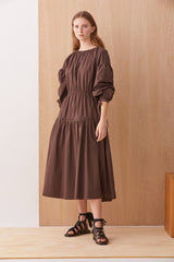 NZ Fashion Clothing Boutique gregorythelabel Gregory AW19 Drei Dress Chocolate Poplin Made in NZ