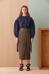NZ Fashion Clothing Boutique gregorythelabel Gregory AW19 Russo Skirt Japanese Denim Made in NZ