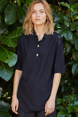 NZ Fashion Clothing Boutique gregorythelabel Gregory SS18 Silk Cotton Galvez Polo Top Imported