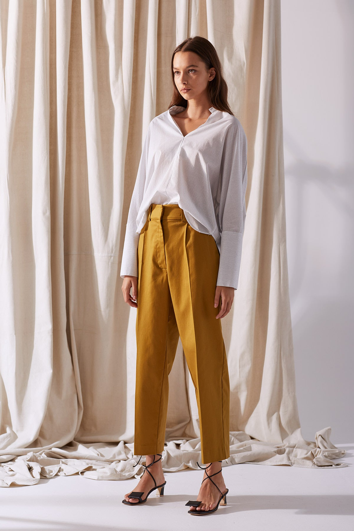 NZ Fashion Clothing Boutique gregorythelabel Gregory SS19 Penny Pant Brass Made in NZ