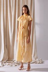 NZ Fashion Clothing Boutique gregorythelabel Gregory SS19 Lella Dress Honey Bleach Print Made in NZ