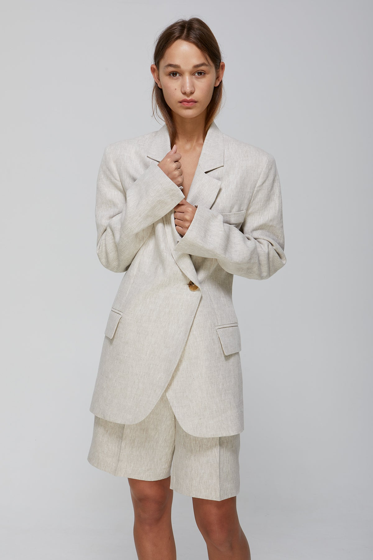 Else Jacket Natural Linen Blazer Gregory SS20 Collection NZ Sustainable Fashion Design