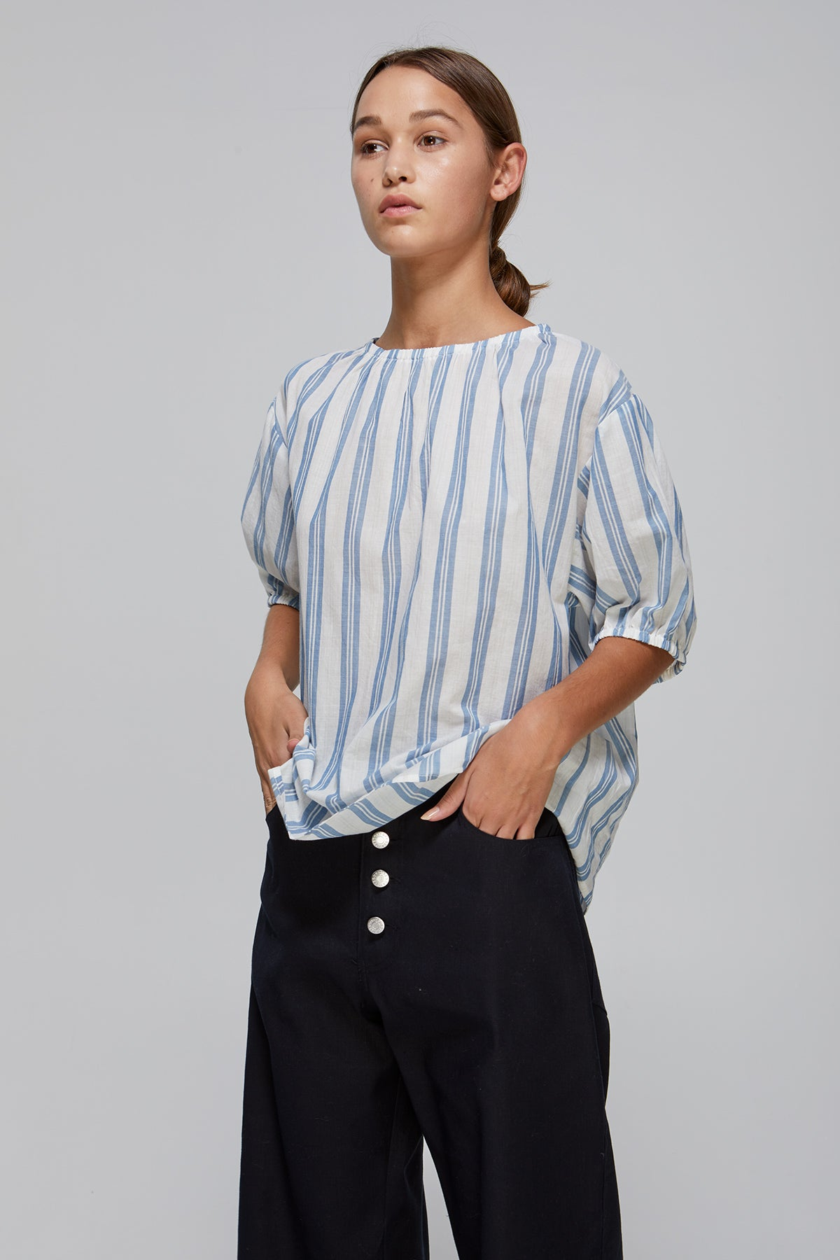 Epany Top Blue Stripe Gregory SS20 Collection NZ Sustainable Fashion Design