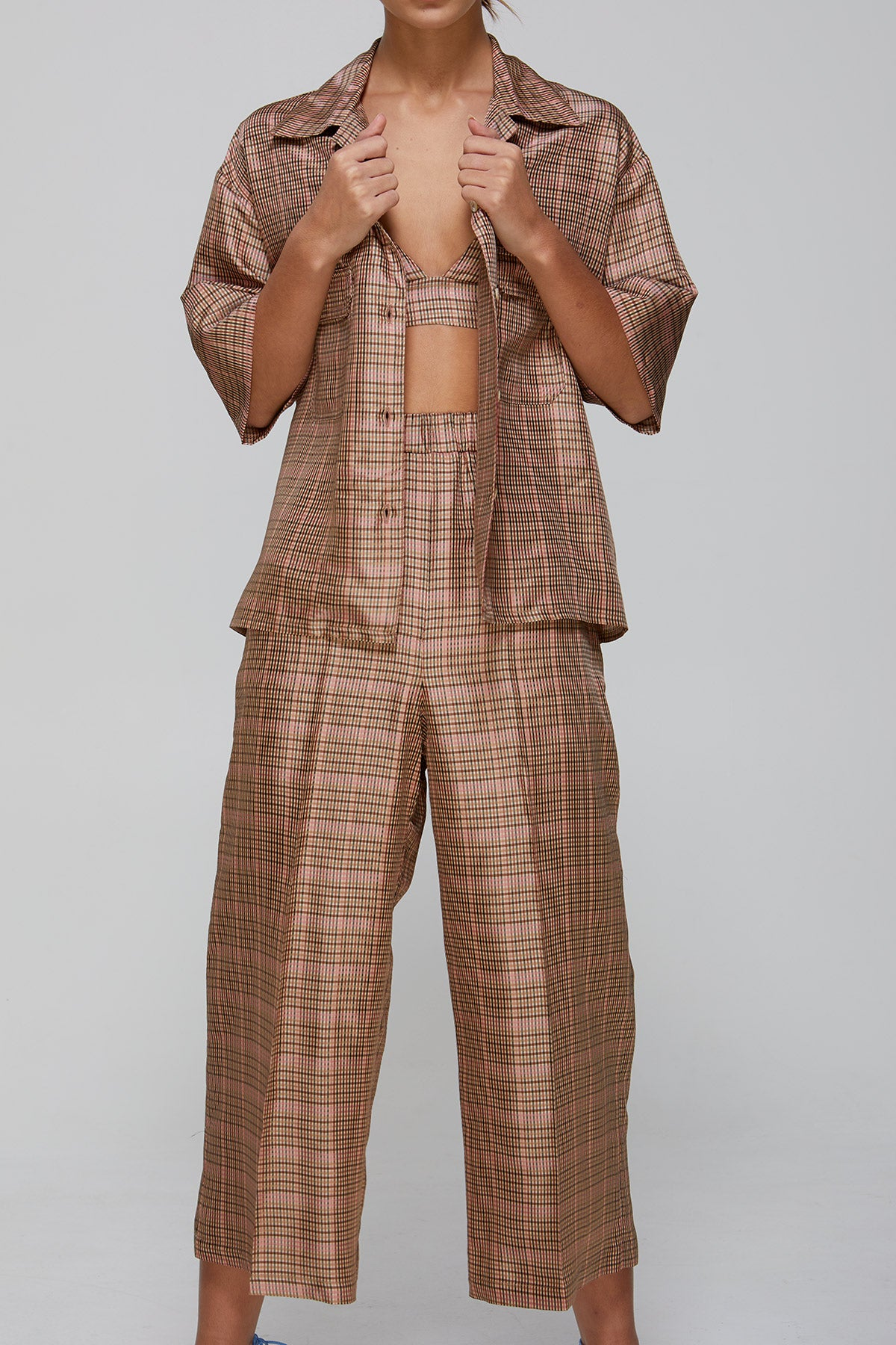 Carly Pant Pink Yarn Dyed Check Pyjama Style PantsGregory SS20 Collection NZ Sustainable Fashion Design
