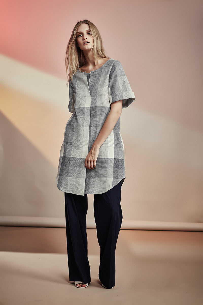 NZ Fashion gregorythelabel SS16/17 Ombre Check Cotton Dress Ethical Fashion Made in New Zealand